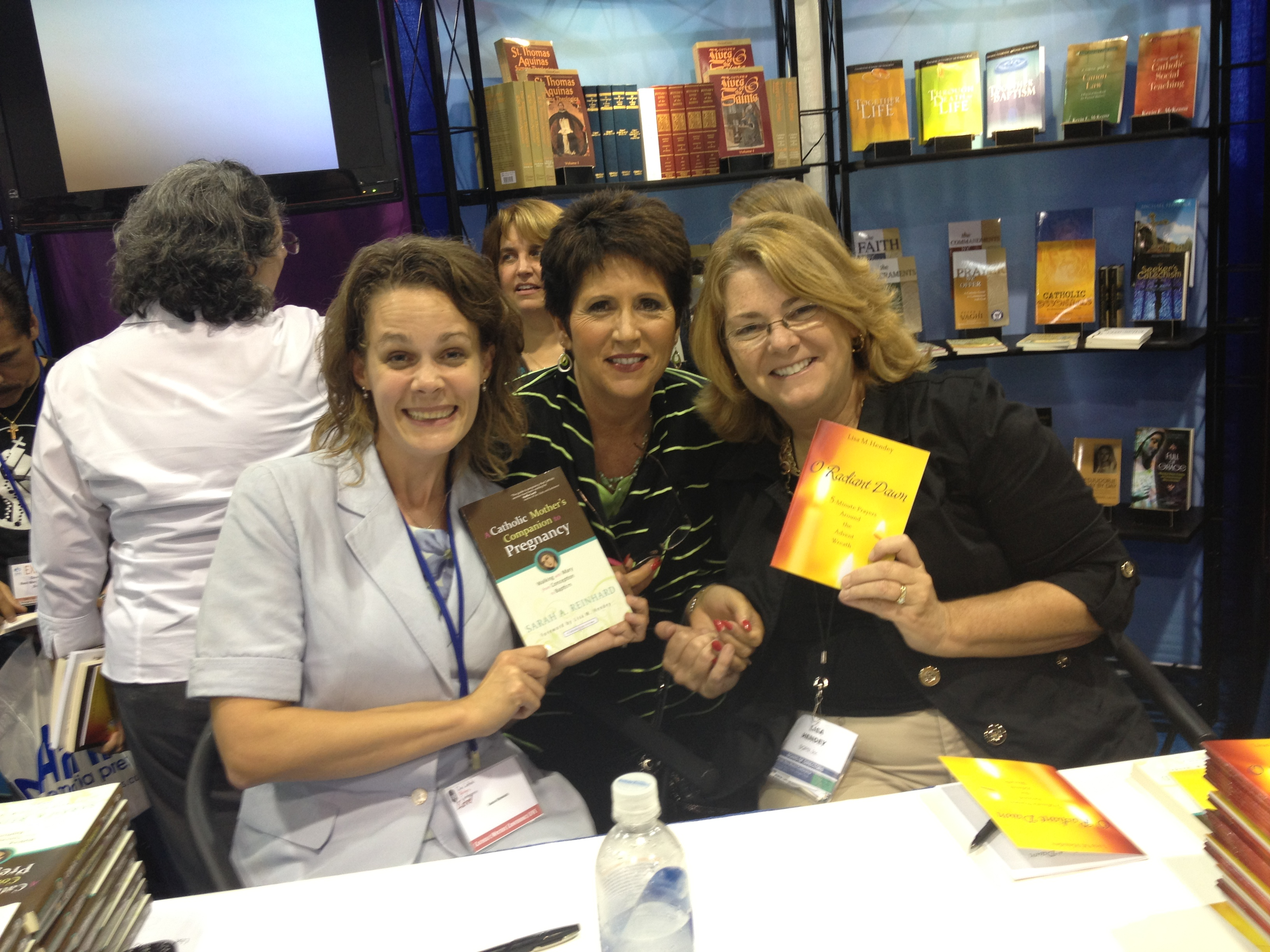 """With two of the """"first ladies"""" of Catholic media, Teresa Tomeo and Lisa Hendey"""